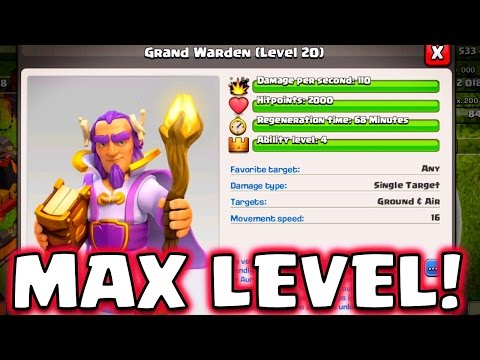 NEW GRAND WARDEN REVEAL! Clash of Clans New Town Hall 11 Support Hero Max Level Gameplay