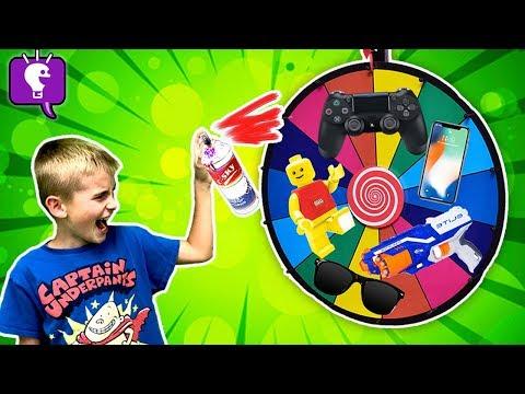 Wheel of DOOM - Destroy What the Nerf Lands On! Challenge by HobbyKidsTV
