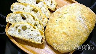 Итальянская чиабатта Простой воздушный хлеб