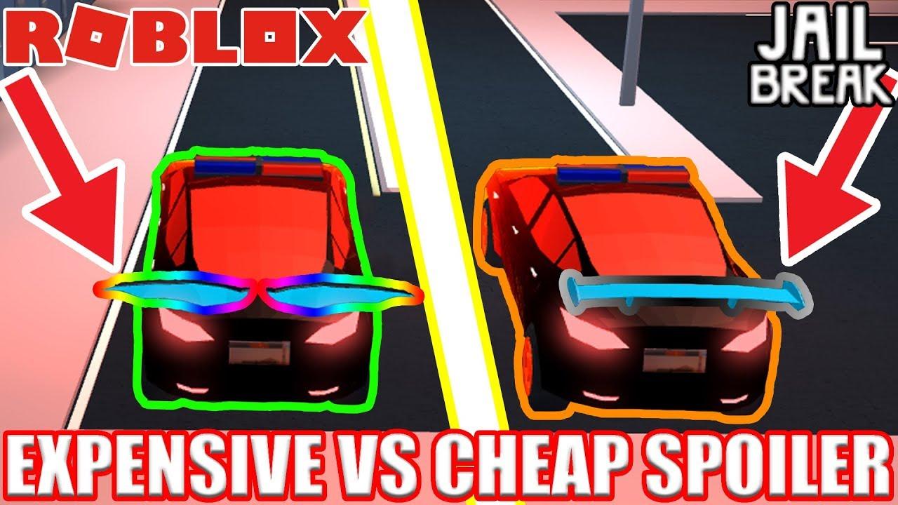 CHEAP SPOILER vs EXPENSIVE SPOILER Vehicle Speed Test Roblox Jailbreak