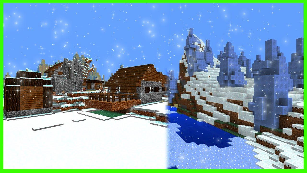Minecraft PE Seeds - ICE SPIKES VILLAGE & Huge Village Seed - MCPE 10.10 /  W100 / Xbox