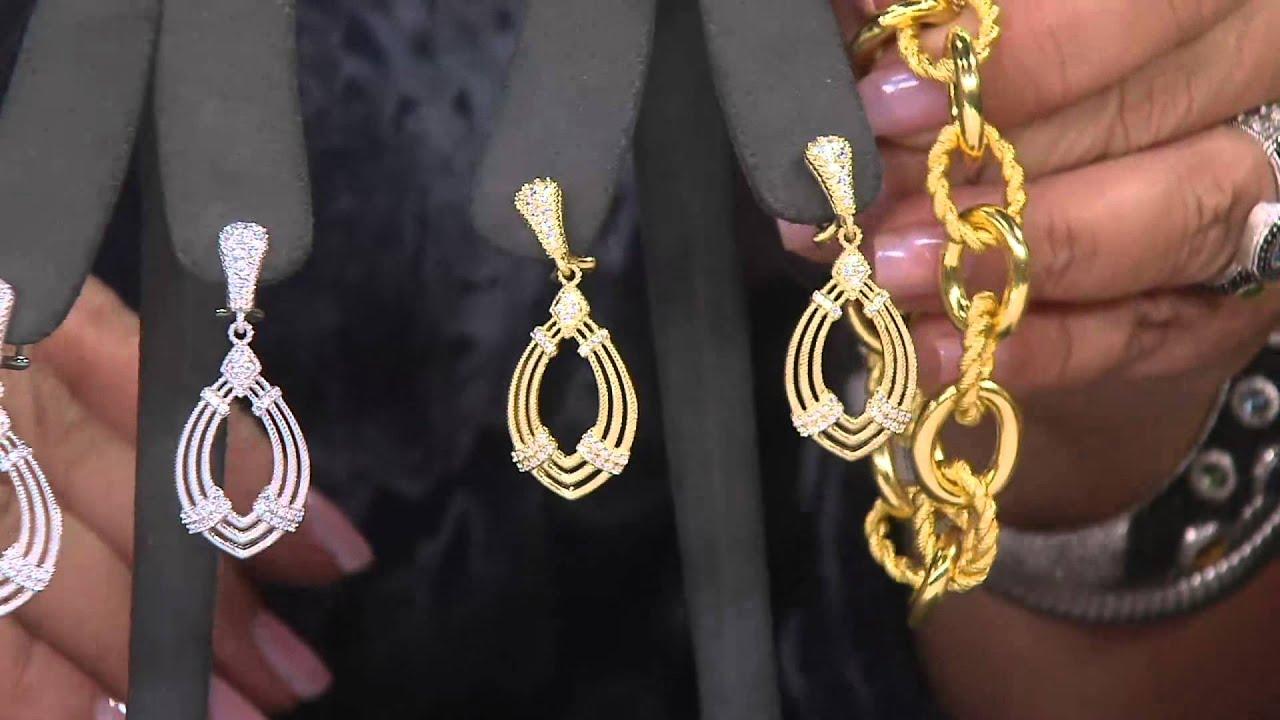 Judith Ripka Sterling Silver Or 14k Clad Diamonique Drop Earrings On Qvc