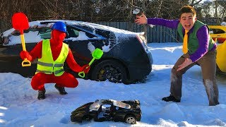Mr. Joe on Toy Car VS Janitor Red Man & Toy Car Turned in Cadillac CTS-V w/ Started Funny Race for K