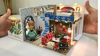 DIY MINIATURE DOLLHOUSE ~ FROZEN ELSA ANA CHRISTMAS WINTER DECOR