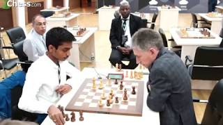 GM Aravindh takes on the legendary Michael Adams in their round 1 match at the FIDE World Cup