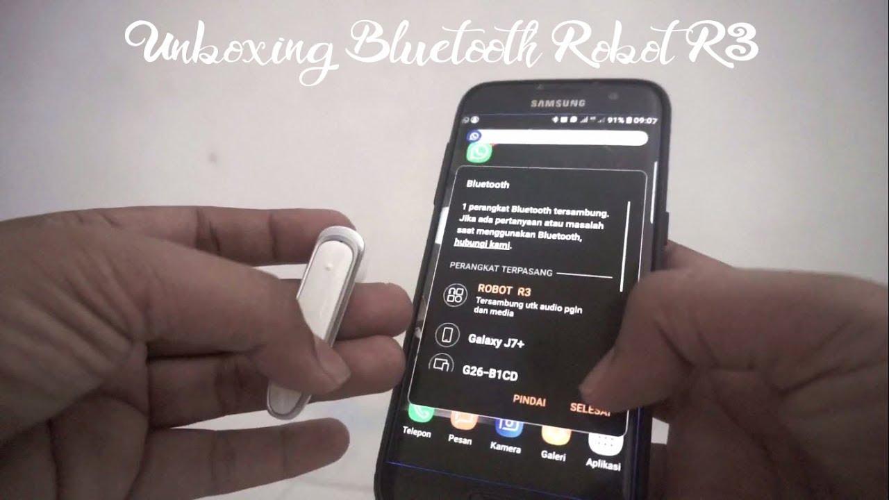 Unboxing Earphone Robot R3 Headset Bluetooth Super Mantap Youtube