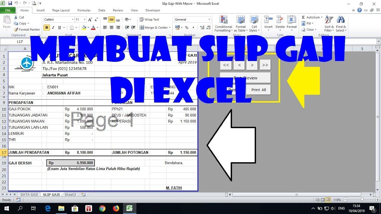Cara Membuat Slip Gaji Di Excel Youtube