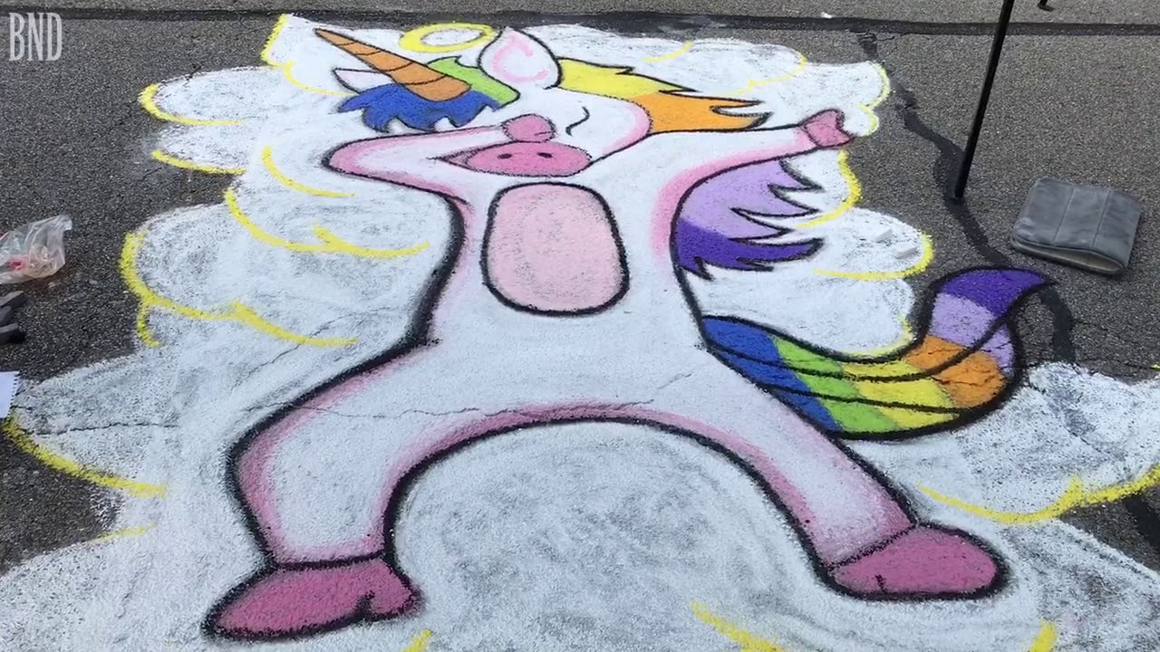 Learn the story of the dabbing unicorn at the street art festival