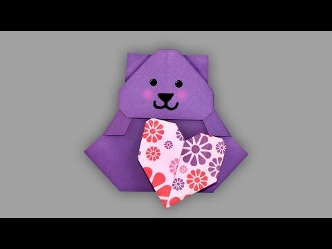 Origami Valentinstags Bär - Faltanleitung (Live erklärt)