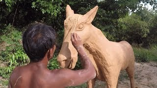 Primitive Technology, Making Horse out of Clay, Clay Statues, Clay Sculptures