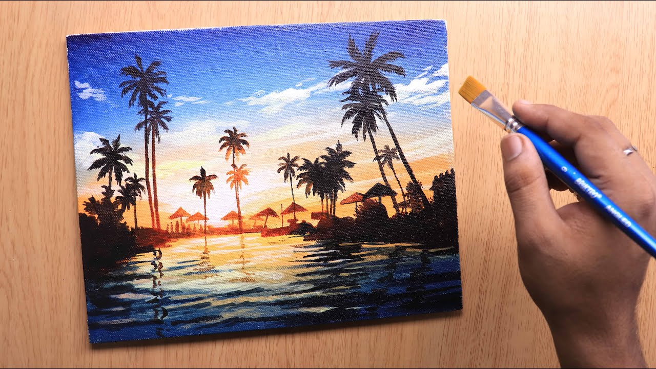 Acrylic painting of sunset landscape beach painting step by step