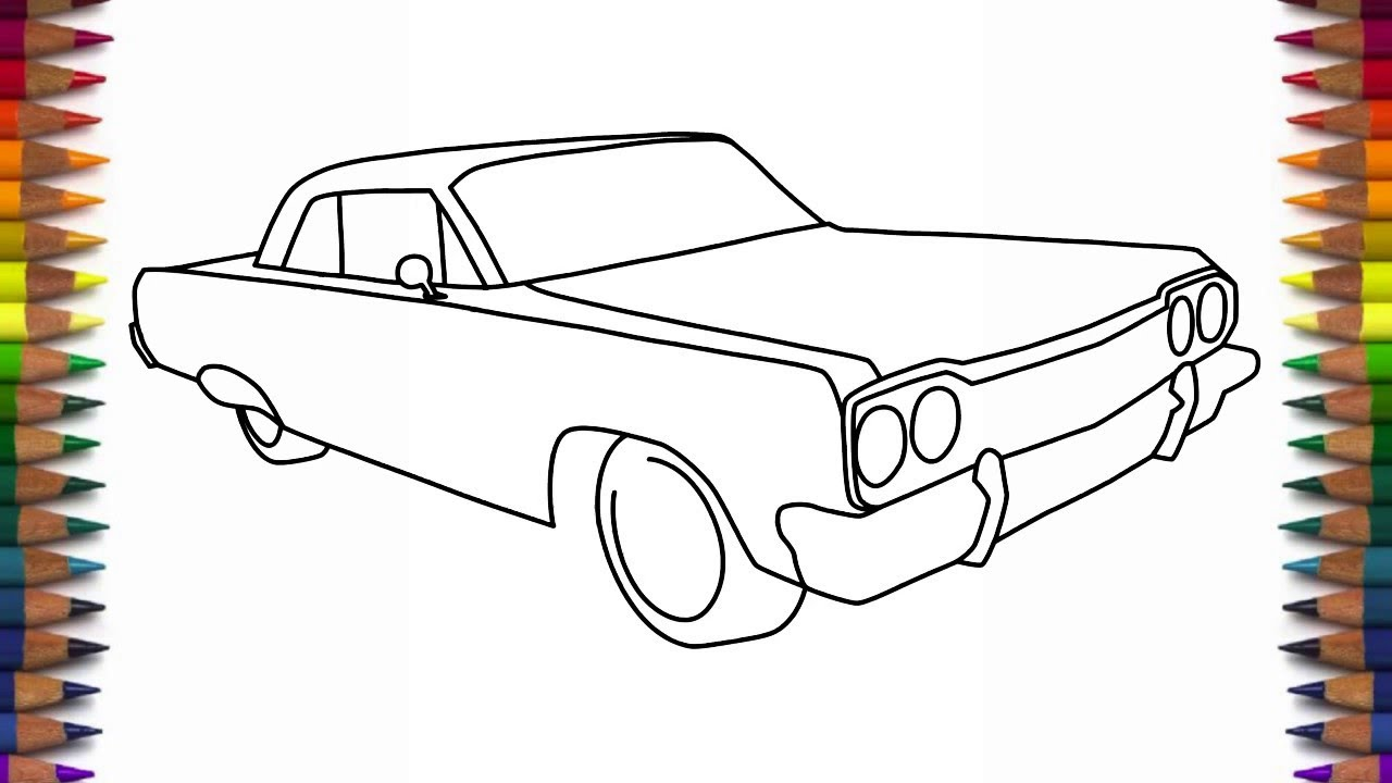 How to draw a car 1964 Chevrolet Impala step by step for