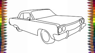 How to draw a car 1964 Chevrolet Impala step by step for beginners