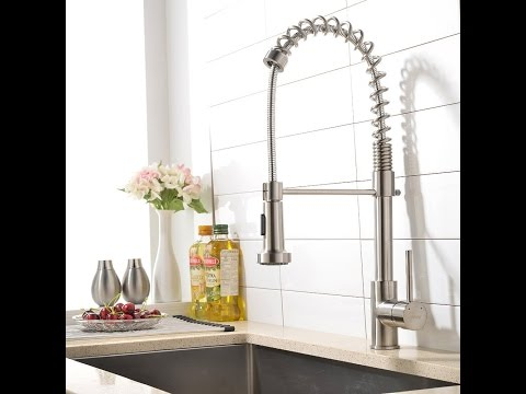 VAPSINT® Best Commercial Single Handle Brushed Nickel Pre Rinse Pull Out Sprayer Kitchen Sink Faucet
