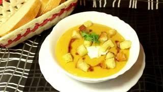Крем-суп из чечевицы с гренками