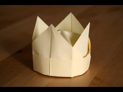 origami couronne crown senbazuru youtube. Black Bedroom Furniture Sets. Home Design Ideas