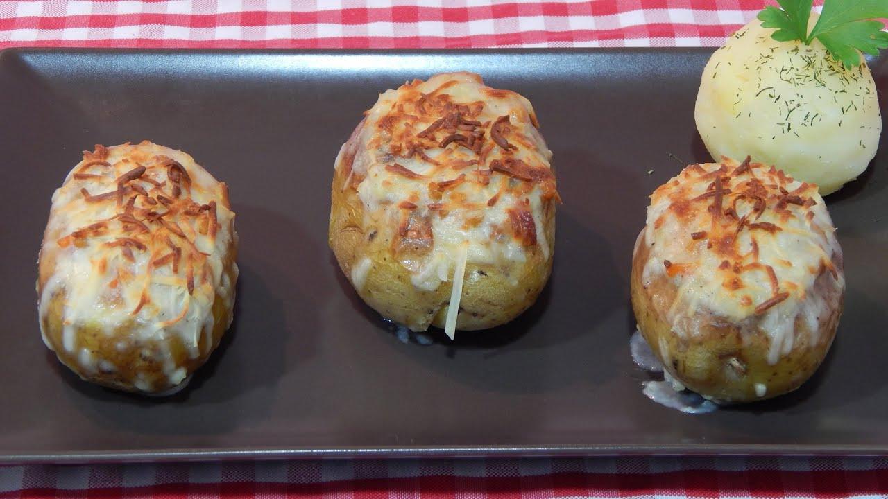 C mo hacer patatas rellenas de carne y jam n al horno youtube - Carnes rellenas al horno ...
