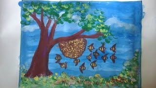 Finger painting ideas: draw beehive with honeybees