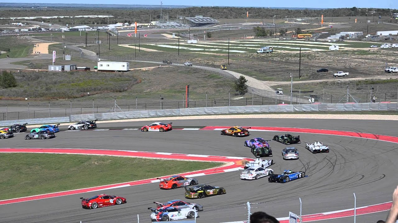 American Le Mans from COTA  Start of Race from Turn 1 Grandstand
