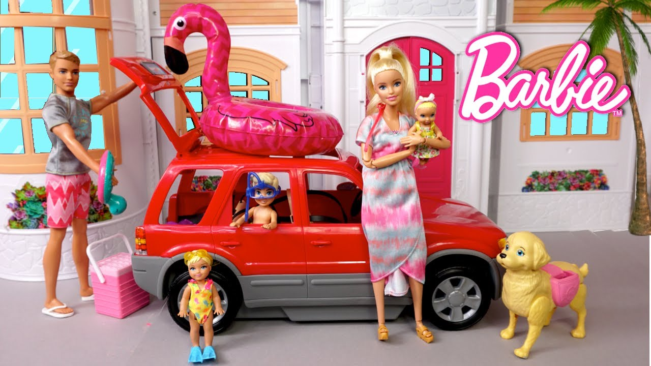 Barbie & Ken Family Road Trip Adventure - Sisters Dream house Cleaning Routine