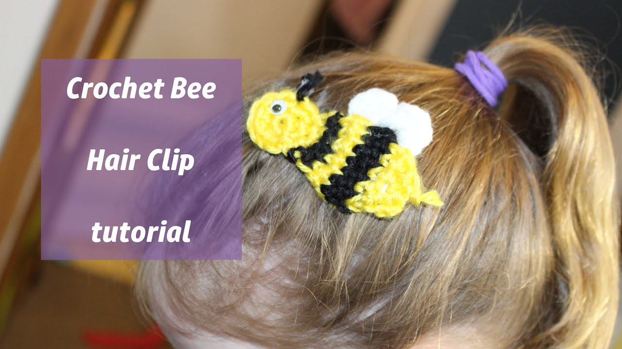 Crochet Tutorial Hair : Valentines Bee Crochet Tutorial hair clip - YouTube