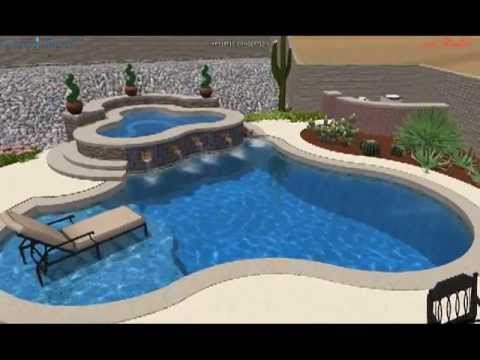 A Pool With A Raised Spa And Beautiful Copper Scuppers