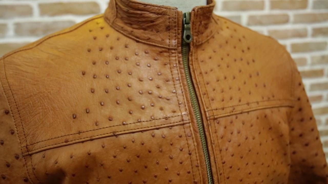 áo da xịn đà điểu màu bò cháy cực đẹp