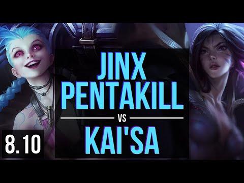 JINX Vs KAI'SA (ADC) ~ Pentakill, KDA 15/3/4, Unstoppable ~ NA Challenger ~ Patch 8.10
