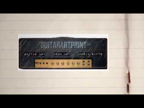 GuitarArtPrint.com  animation featuring guitar art, musician gifts and drummer art