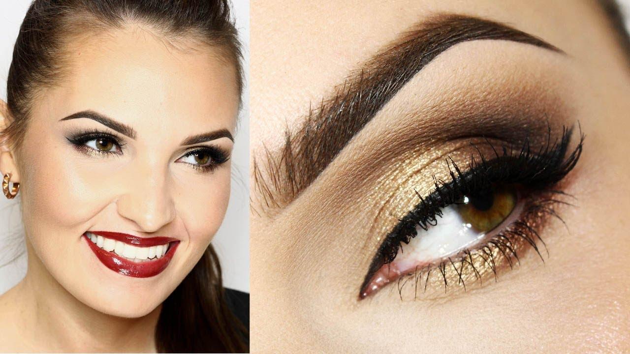 Złote Oczy I Bordowe Usta Makijaż świątecznyna Christmas Party