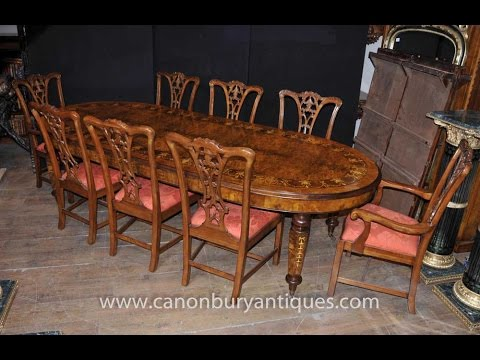 Antique Walnut Dining Table and Chippendale Chair Set & Antique Walnut Dining Table and Chippendale Chair Set - YouTube