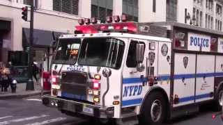 NYPD & FDNY responding police cars & firetrucks on New York streets 2015 HD ©