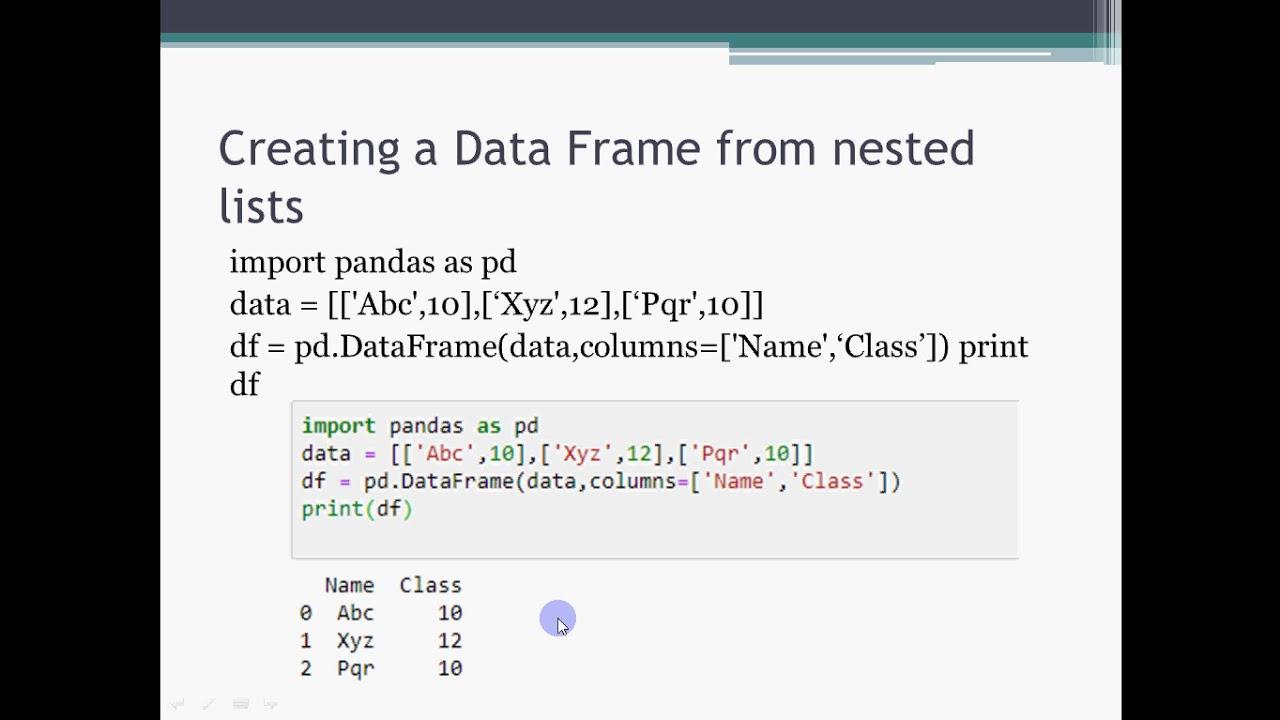 Data Frames in Python