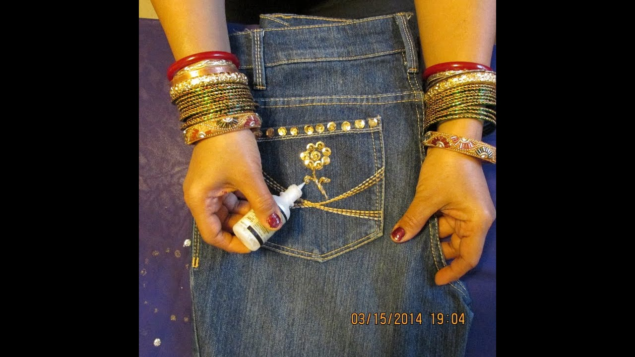 Diy Decorate Jeans With Sequins Beads And Give It A