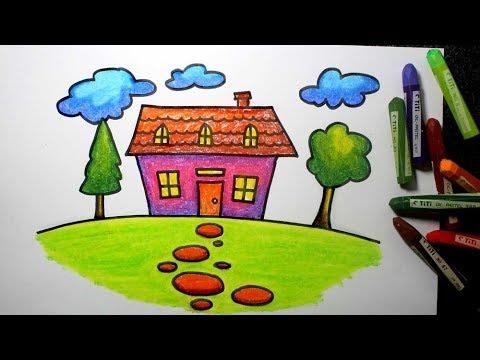 Crayon Cara Menggambar Rumah Untuk Sd Youtube