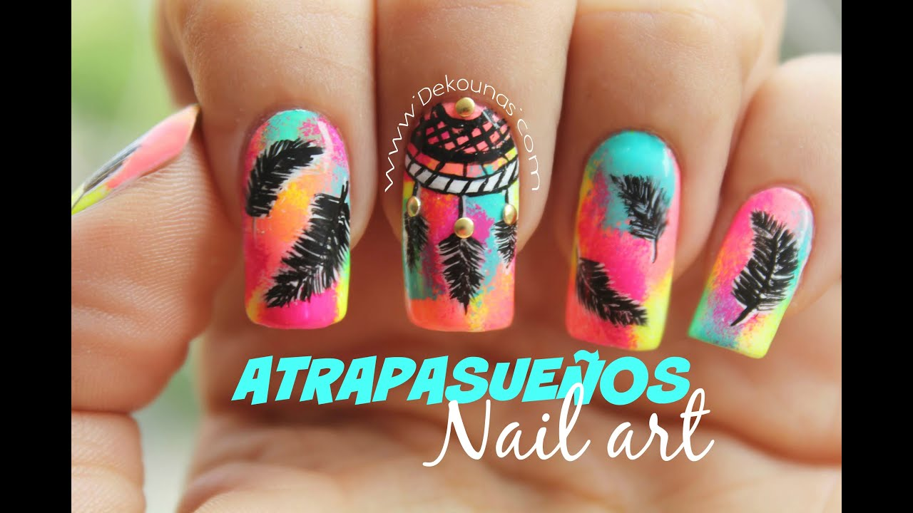 Decoracion De Unas Atrapasuenos Dreamcatcher Nail Art Youtube