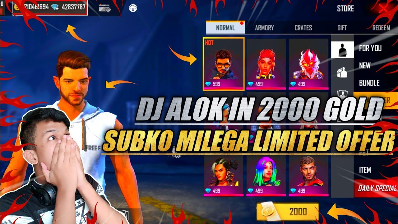 🔥 Get Dj Alok Character In 2000 Gold | Free Fire Limited Offer | How To Get Dj Alok In Gold 2020