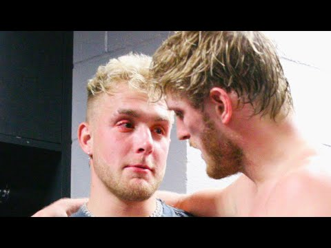 Jake Paul CRIES backstage AFTER Logan Paul Loses to KSI video screenshot