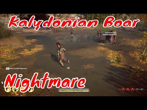Kalydonian Boar and mercenaries. Legendary animal. Nightmare difficulty. Assassin's Creed Odyssey |