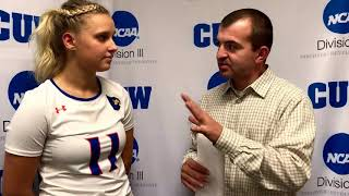 CUW Women's Volleyball post-match interview with Holly Anderson (October 4, 2017)