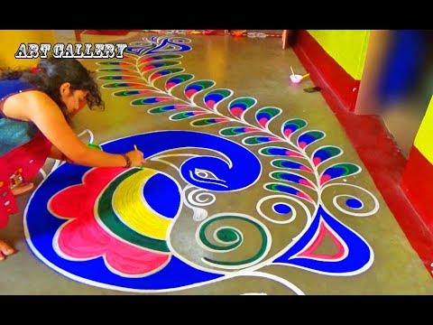Diwali Special Full Floor Big Peacock Rangoli Designs By Art Gallery