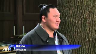 일본 스모, 추운 날씨 속 벌거벗은 요코즈나의 의식