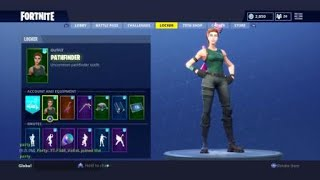 Fortnite pathfinder skin showcased with 42 different backblings