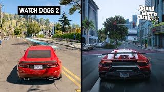 Download lagu GTA 5 vs Watch Dogs 2 SIDE BY SIDE COMPARISON MP3