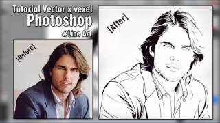 Tutorial Vector x Vexel Photoshop #Line Art (Tom Cruise)