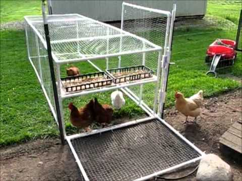 Pvc chicken tractor easy and cheap doovi for Cheap chicken tractor