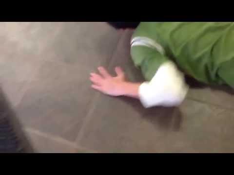 Kid breaks computer in School Hallway!