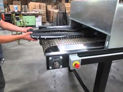 Conveyor Oven With Flat Wire On Edge Mesh Belt