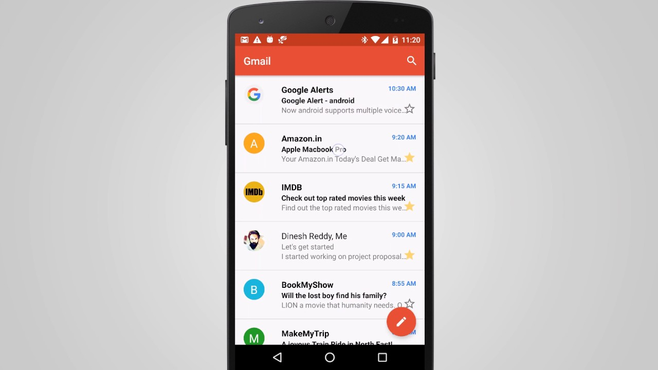 Android Creating Gmail Like Inbox using RecyclerView