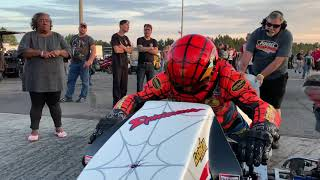 """FIRST RUN AFTER TOP FUEL NITRO MOTORCYCLE WORLD RECORD FOR LARRY """"SPIDERMAN"""" MCBRIDE!"""